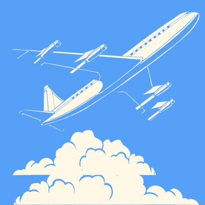 Plakat Samolot pasażerski w chmurach tle retro