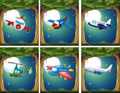 Plakat Samoloty i helikoptery latające nocą