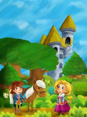 Plakat Scena lasów kreskówek z księciem z koniem i księżniczką stoi i rozmawia na ścieżce w pobliżu wieży zamku