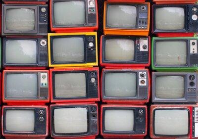Plakat Ściana starych zabytkowych telewizorów lampowych