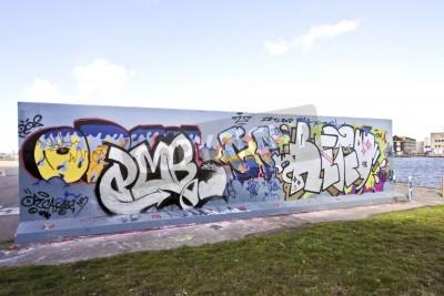 Plakat Ściany graffiti w Amsterdamie, Holandia