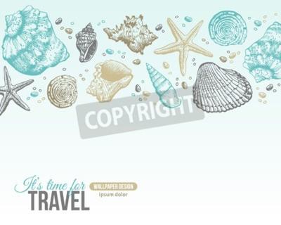 Plakat Sea Shells Lato Pocztówka projektowych. Wektor tła z muszle, Sea Star i piasku. Wyciągnąć rękę wytrawiania stylu. Miejsce dla tekstu.
