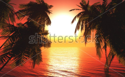 Plakat sea sunset among the palm trees, the sun over the water in the palm trees,3D rendering