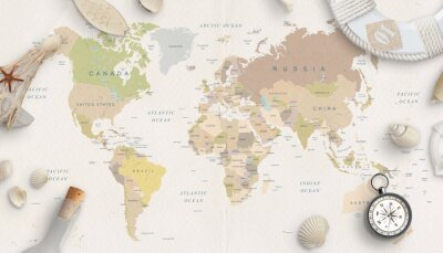 Plakat Sea, travel things on world map conposition. Copy space in the middle. Top view, flat lay.