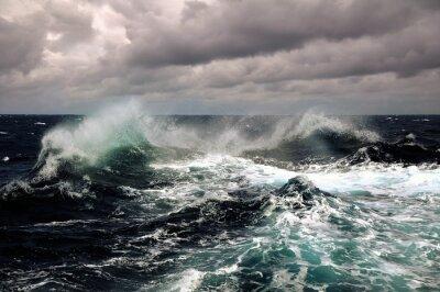 Plakat sea wave in atlantic ocean during storm