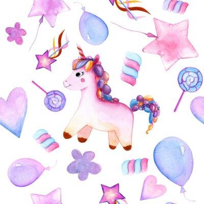 Plakat seamless design. unicorn. Balloons. candy on a stick. marshmallows. flower. magic wand star. watercolor. happy Birthday
