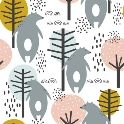 Plakat Seamless pattern, bears and trees, hand drawn overlapping backdrop. Colorful background vector. Illustration with animals. Decorative wallpaper, good for printing