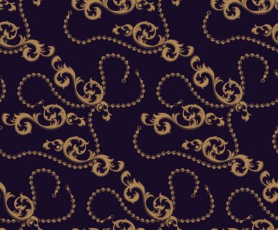 Seamless pattern of Baroque elements and chains