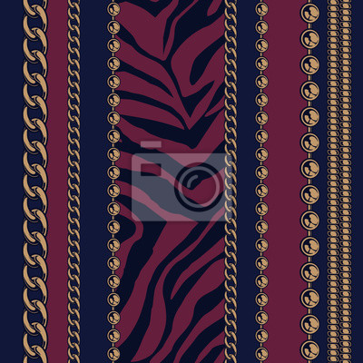 .Seamless pattern of chains and animal print.