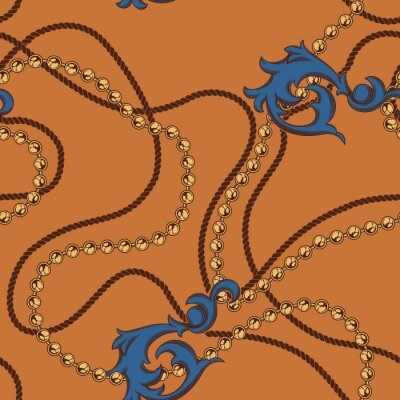 Seamless pattern of chains and elements baroque