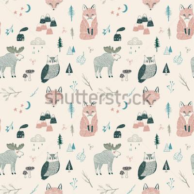 Plakat seamless pattern of woodland animals, trees, mountains