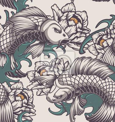Seamless pattern on the Japanese theme