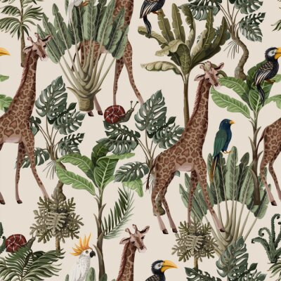Seamless pattern with exotic trees and animals. Interior vintage wallpaper.