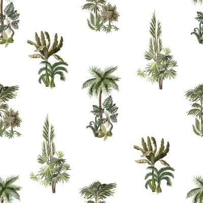 Seamless pattern with exotic trees such us palm, monstera and banana. Interior vintage wallpaper