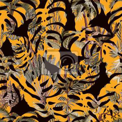 Seamless pattern with exotic trees such us palm, monstera and banana. Interior vintage wallpaper.