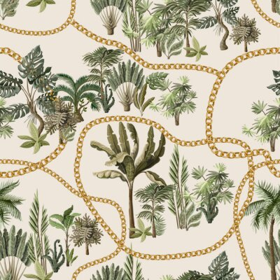 Seamless pattern with exotic trees such us palm, monstera and banana with chains.