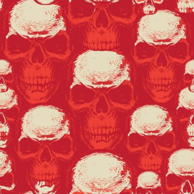 Seamless pattern with hand-drawn human skulls. Abstract vector background with scary skulls on a red backdrop. Suitable for wallpaper, wrapping paper, textiles, design element for halloween party