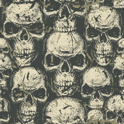 Seamless pattern with hand-drawn human skulls in grunge style. Abstract vector background with ominous skulls. Graphic print for clothes, fabric, wallpaper, wrapping paper, design for halloween party
