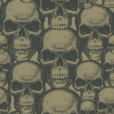 Seamless pattern with hand-drawn human skulls in retro style. Vector background with sinister skulls on a khaki backdrop. Graphic print for clothes, fabric, wallpaper, wrapping paper