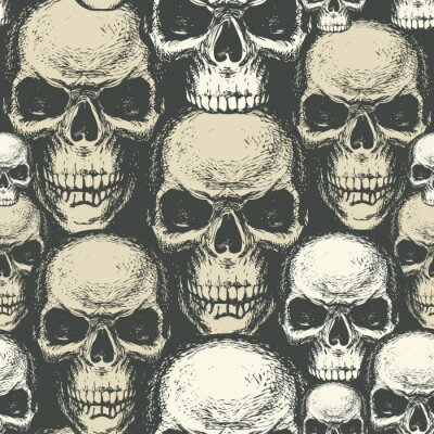 Seamless pattern with hand-drawn human skulls. Vector background with sinister skulls. Graphic print for clothes, fabric, wallpaper, wrapping paper, design element for halloween party
