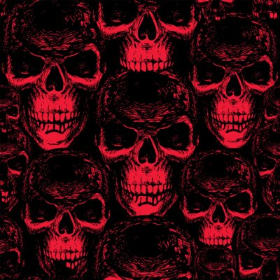 Seamless pattern with hand-drawn sinister human skulls. Vector background with scary skulls in black and red colors. Suitable for wallpaper, wrapping paper, fabric, design element for halloween party