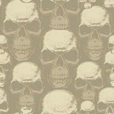 Seamless pattern with human skulls. Vector background with hand-drawn skulls. Graphic print for apparel, fabric, wallpaper, wrapping paper, design element for halloween party