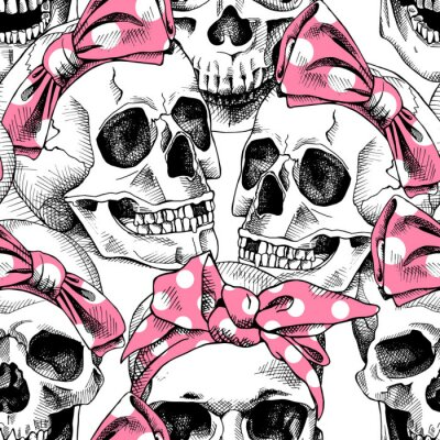 Plakat Seamless pattern with image a skull in a pink headband. Vector illustration.
