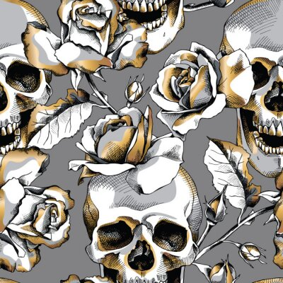 Seamless pattern with image gold skull and rose flowers on a dark gray background. Vector illustration.