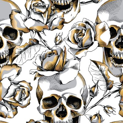 Seamless pattern with image gold skull and rose flowers on a white background. Vector illustration.