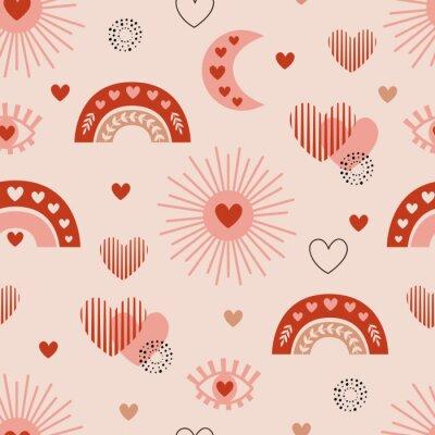 Plakat seamless pattern with love boho sun, rainbow, moon