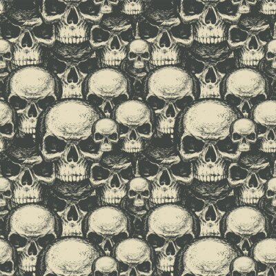 Seamless pattern with many human skulls. Repeating vector background with hand-drawn skulls. Graphic print for clothing, design element for Halloween, fabric, wallpaper, wrapping paper