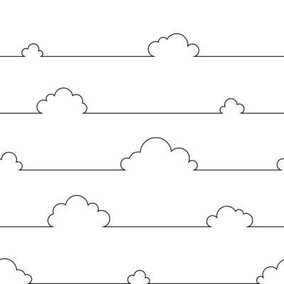 Plakat Seamless pattern with simple cartoon clouds in continuous line art drawing style. Black linear design on white background. Vector illustration