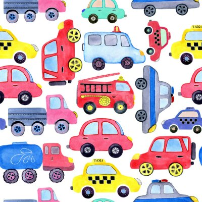 Plakat Seamless pattern with watercolor cartoon cars and spare parts. Design of children's clothing, wallpaper, packaging, background, wall