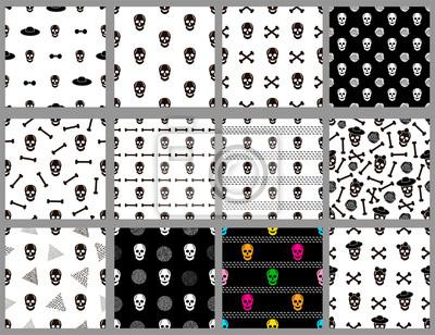 Plakat Seamless patterns set with skulls.