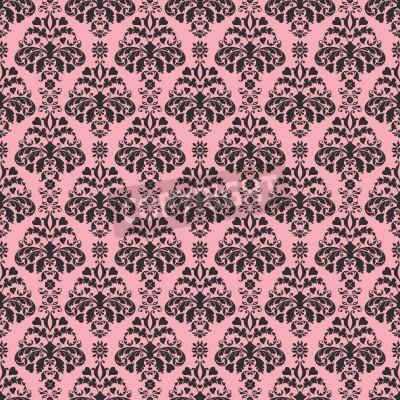 Plakat Seamless Pink   Black Damask
