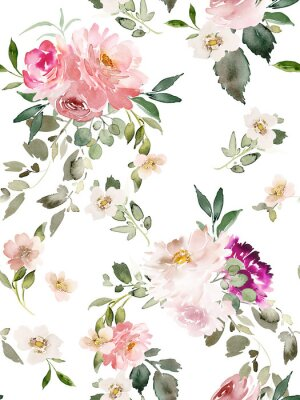 Plakat Seamless summer pattern with watercolor flowers handmade.