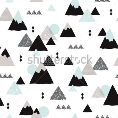 Plakat Seamless winter wonderland geometric japanese fuji mountain theme illustration triangle abstract landscape background pattern in vector