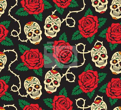 Plakat Seamless z meksykańskich czaszek