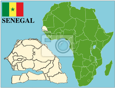 Senegal Godlo Mapa Swiata Tle Afryka Biznes Sukces Plakaty Na