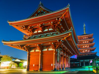Plakat Senso-ji Temple w Asakusa, Tokio, Japonia.