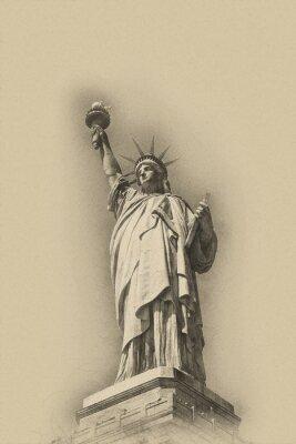 Plakat Sepia stonowanych obraz artystyczny Statua Wolności