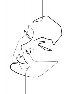 Plakat Serene Female Face One Single Continuous Line Vector Graphic Illustration