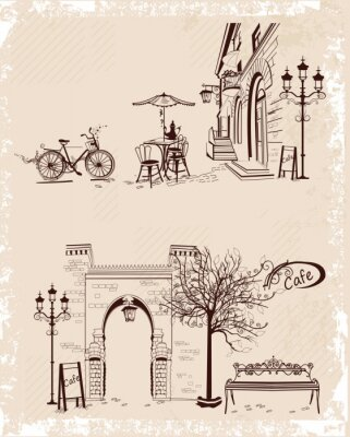 Plakat Seria środowisk ozdobione widokiem na Stare Miasto i ulicznych kawiarenek.