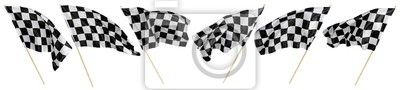 Plakat Set collection of waving black white chequered flag wooden stick motorsport sport and racing concept isolated background