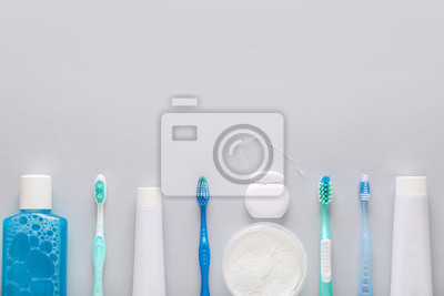 Plakat Set for dental hygiene on light background