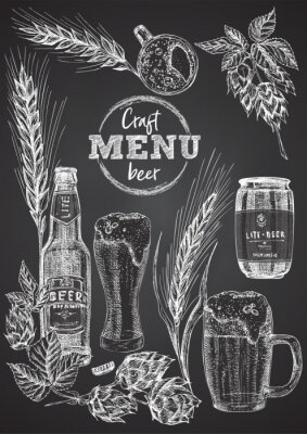 Plakat Set hand drawn sketch bottle and glasses beer, hop, wheat Vintage design bar, restaurant, cafe menu on on black chalk board background. Graphic vector art Template for flyer, banner, poster