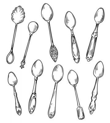 Plakat Set łyżki, wektorowa ręka rysująca ilustracja