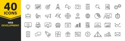 Plakat Set of 40 Web development web icons in line style. Marketing, analytics, e-commerce, digital, management, seo. Vector illustration.