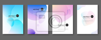 Plakat Set of abstract vector backgrounds with line waves.Vector illustration.