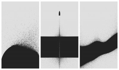 Plakat Set of black and white backgrounds with dust explosion and particle spraying